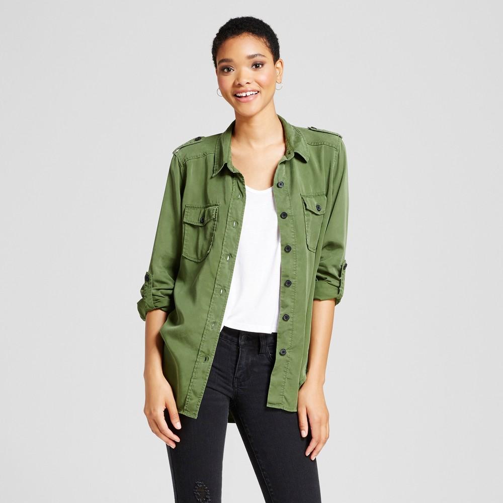 Womens Boyfriend Button Down Shirt - Mossimo Supply Co. Green XS