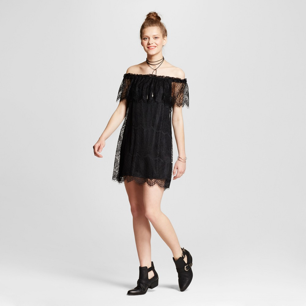 Womens Lace Off the Shoulder Dress - Lily Star (Juniors) Black L