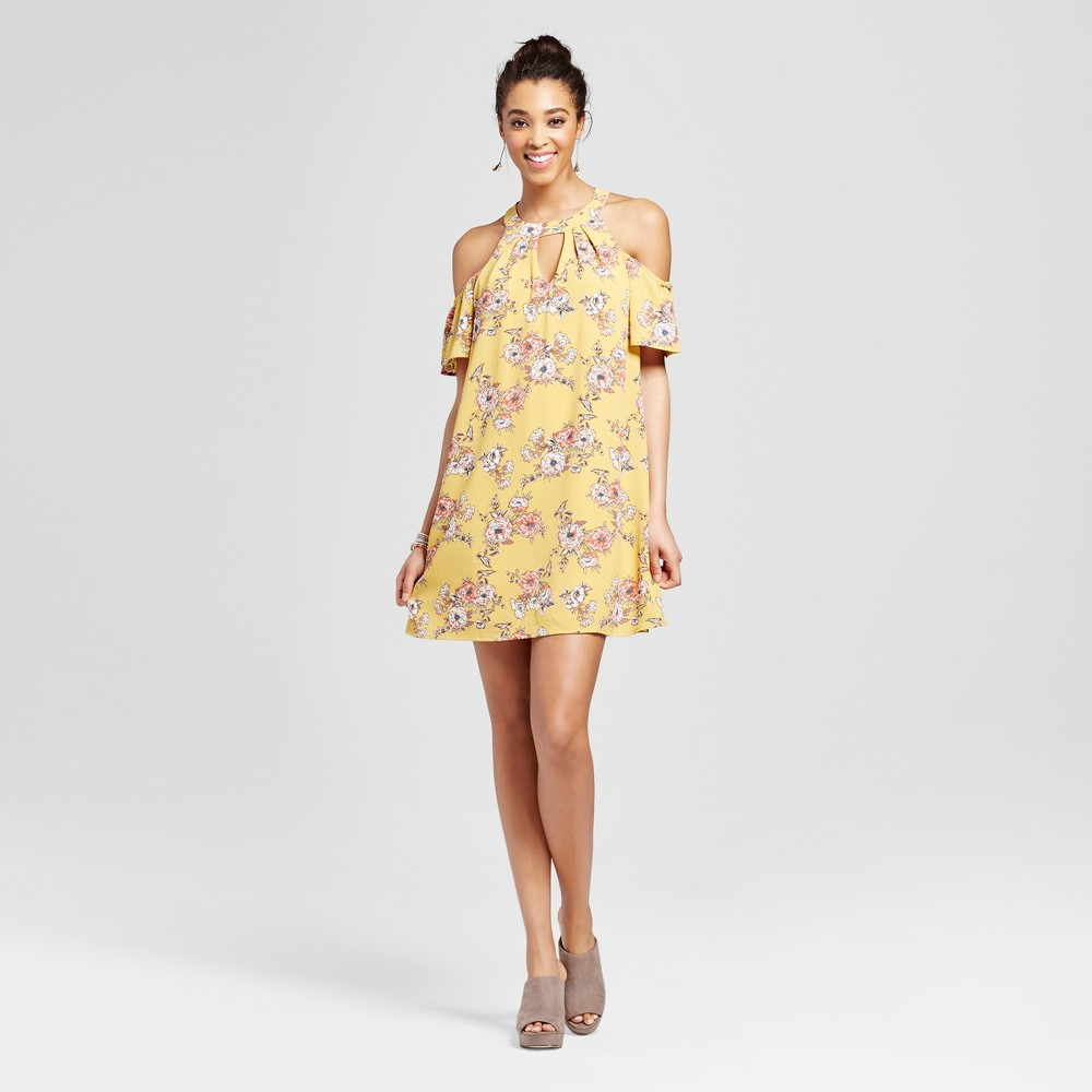 Womens Floral Cut Out Cold Shoulder Dress - Lily Star (Juniors) Yellow S