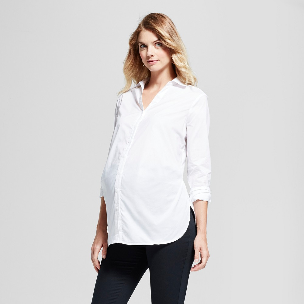 Maternity Button-Down Shirt - Isabel Maternity by Ingrid & Isabel White Xxl, Womens
