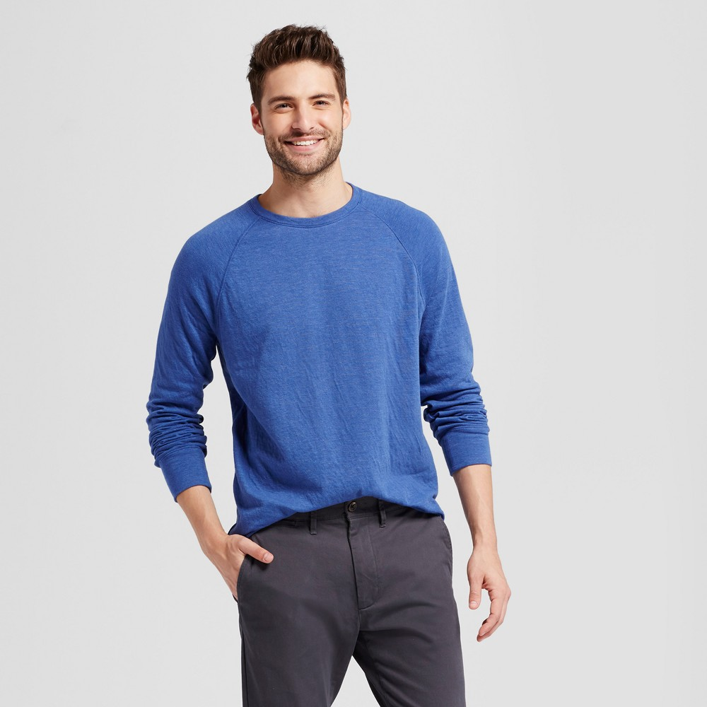 Mens Standard Fit Long Sleeve Double-Knit Crew Shirt - Goodfellow & Co Royal Blue XL