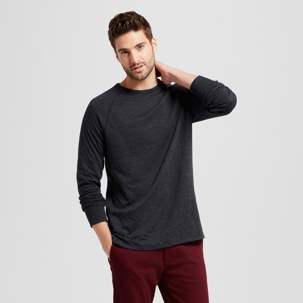 Mens Standard Fit Long Sleeve Double-Knit Crew Shirt - Goodfellow & Co Black S