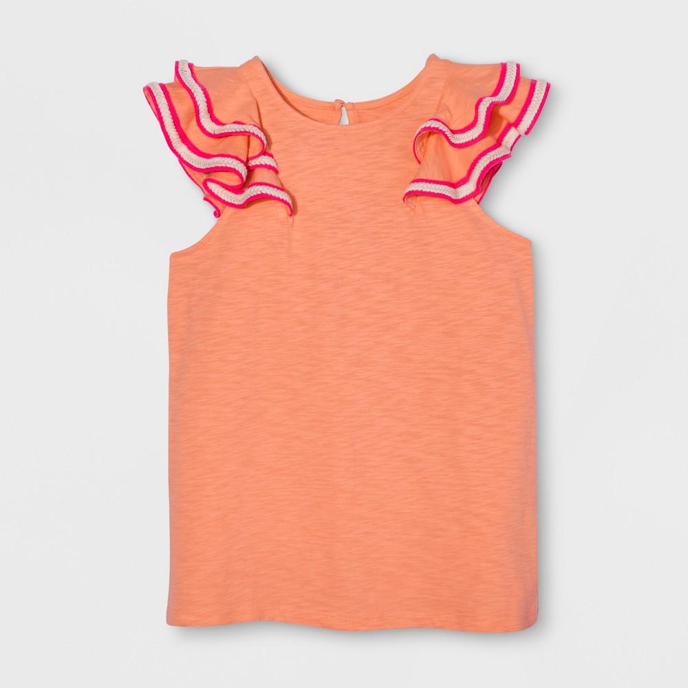 Girls' Sleeveless Ruffle Top - Cat & Jack Peach M, Orange