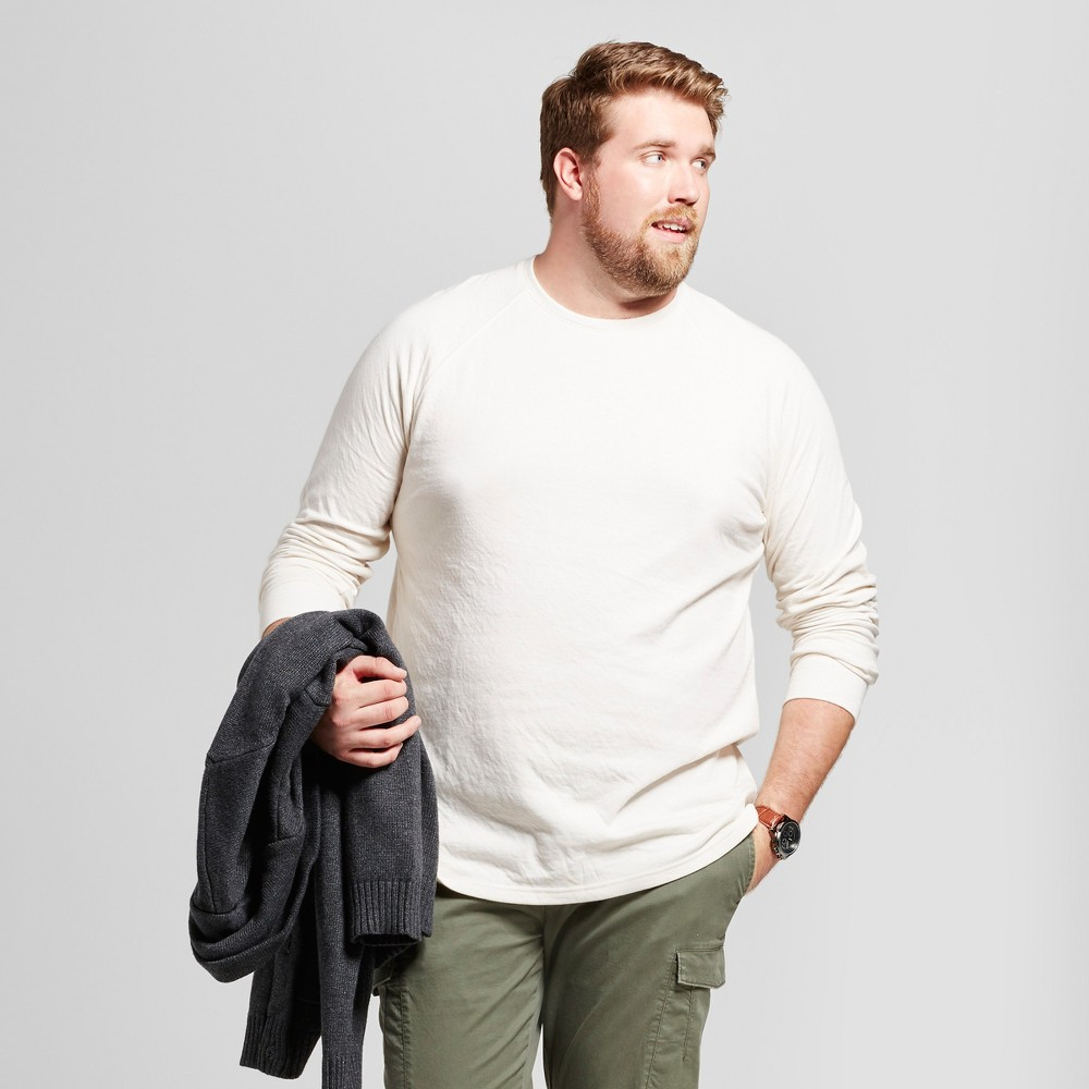 Mens Big & Tall Standard Fit Long Sleeve Double-Knit Crew Shirt - Goodfellow & Co White Xlt