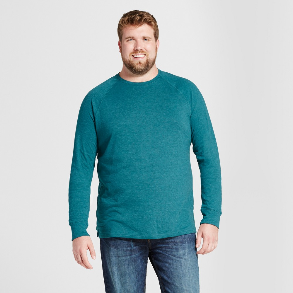 Mens Big & Tall Standard Fit Long Sleeve Double-Knit Crew Shirt - Goodfellow & Co Teal (Blue) MT