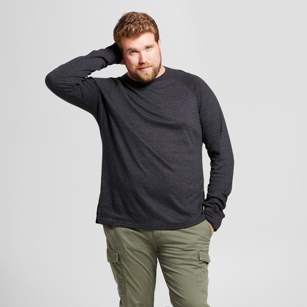 Mens Big & Tall Standard Fit Long Sleeve Double-Knit Crew Shirt - Goodfellow & Co Black MT