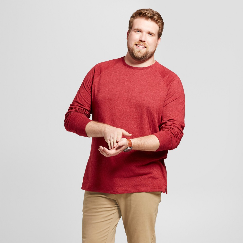 Mens Big & Tall Standard Fit Long Sleeve Double-Knit Crew Shirt - Goodfellow & Co Burgundy (Red) 2XB