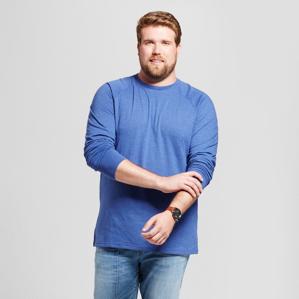 Mens Big & Tall Standard Fit Long Sleeve Double-Knit Crew Shirt - Goodfellow & Co Royal Blue 3XB