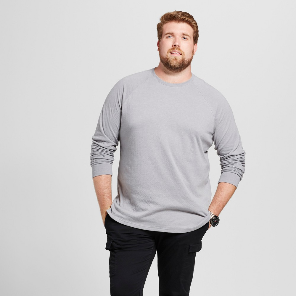 Mens Big & Tall Standard Fit Long Sleeve Double-Knit Crew Shirt - Goodfellow & Co Gray 2XB