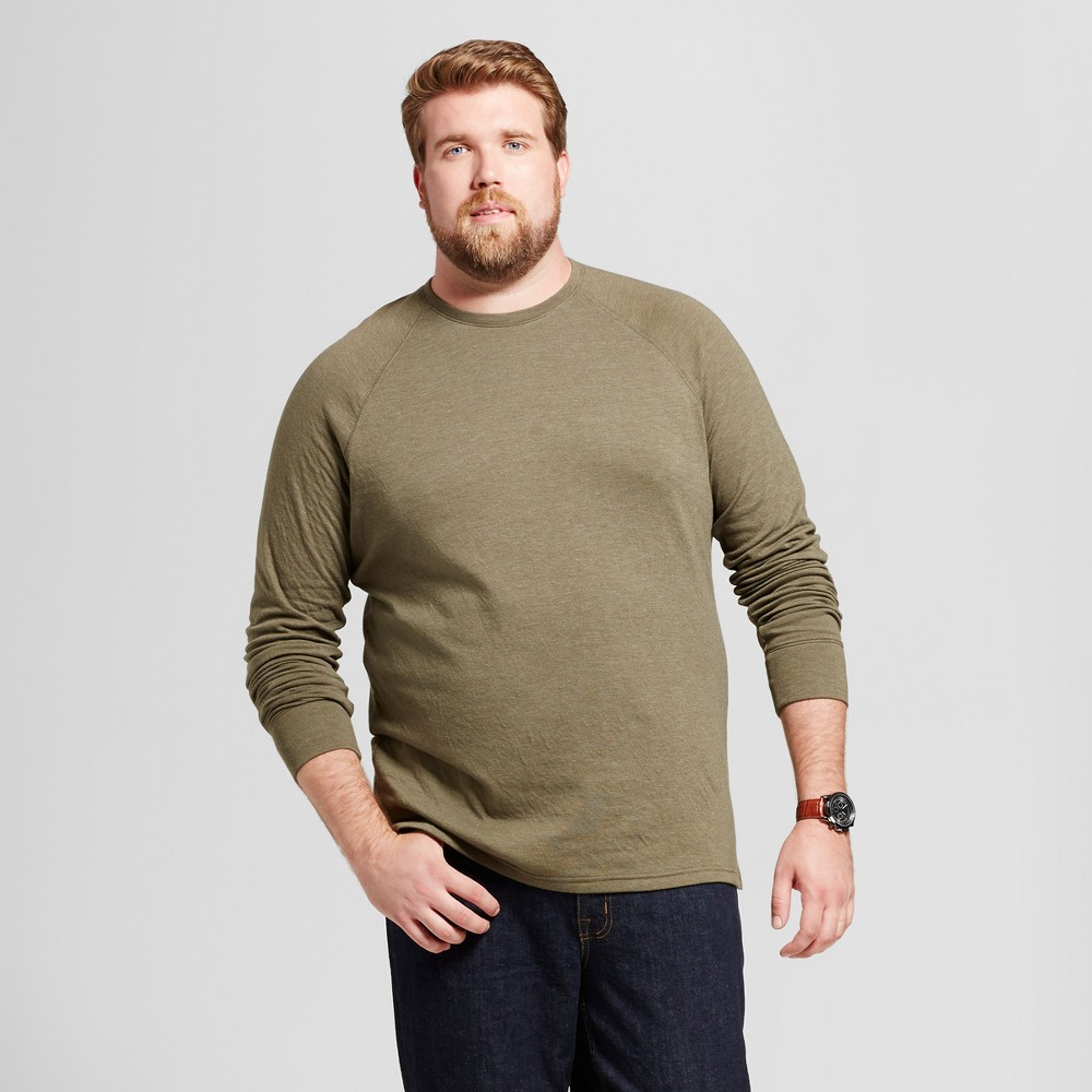 Mens Big & Tall Standard Fit Long Sleeve Double-Knit Crew Shirt - Goodfellow & Co Olive (Green) 2XBT
