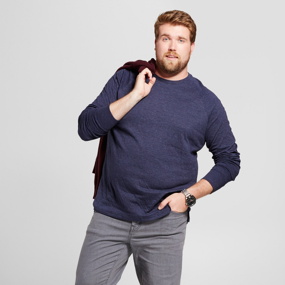 Mens Big & Tall Standard Fit Long Sleeve Double-Knit Crew Shirt - Goodfellow & Co Navy (Blue) 4XB