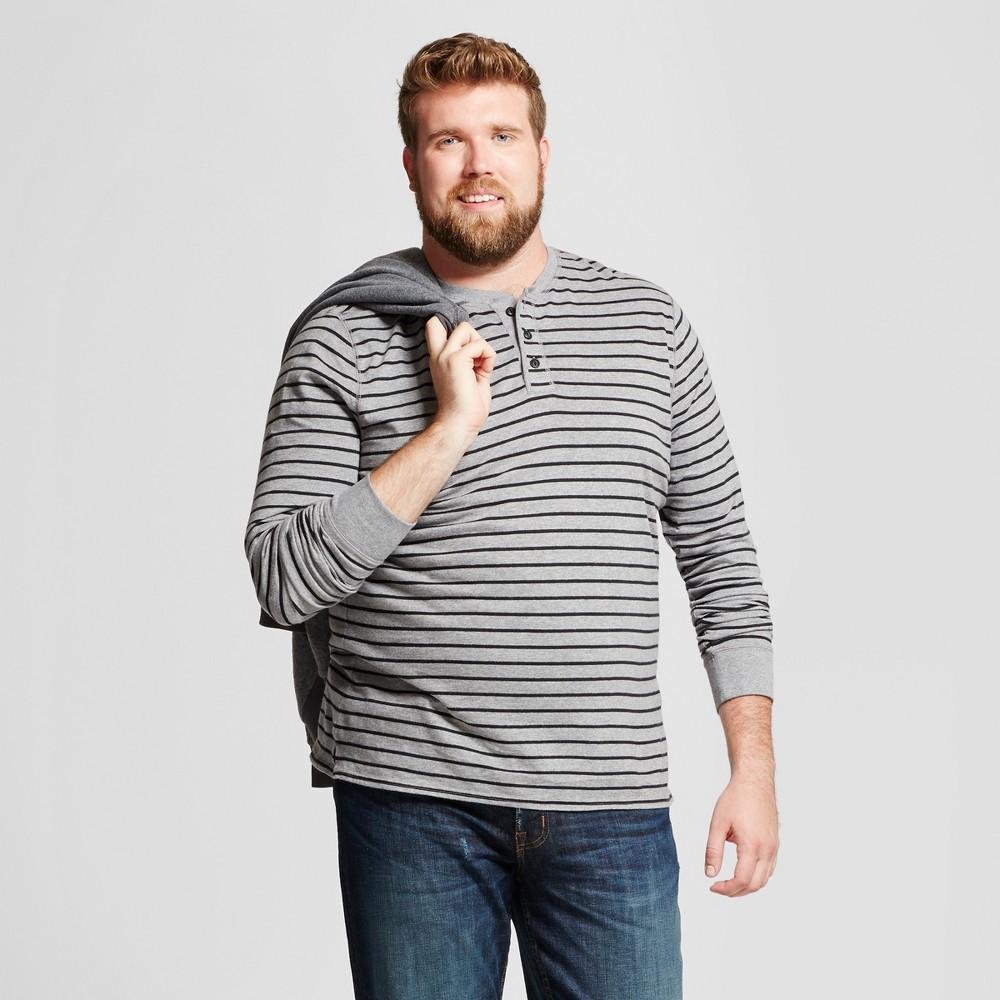 Mens Big & Tall Long Sleeve Henley T-Shirt - Goodfellow & Co Gray Stripe 2XB