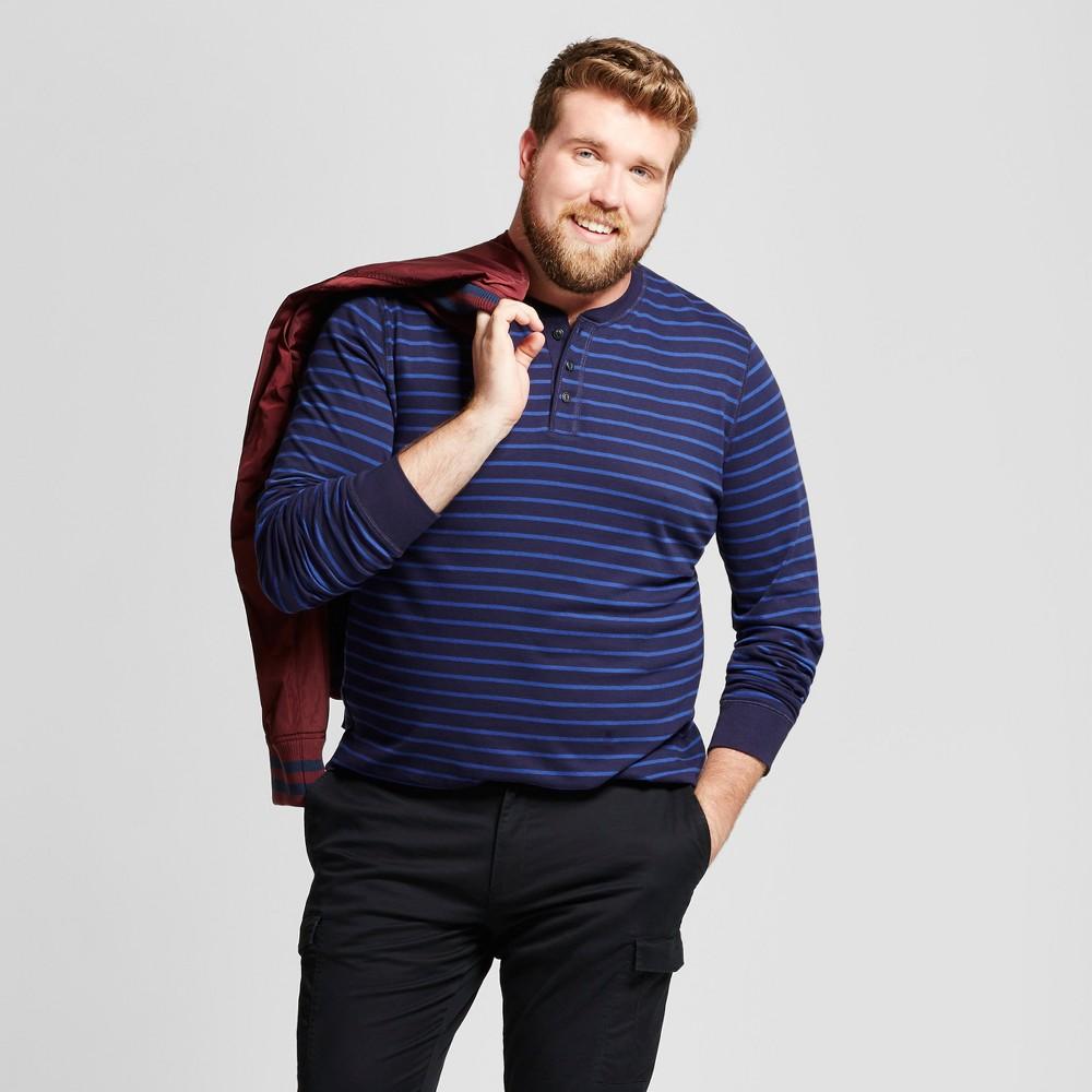 Mens Big & Tall Standard Fit Long Sleeve Henley T-Shirt - Goodfellow & Co Navy (Blue) 5XB