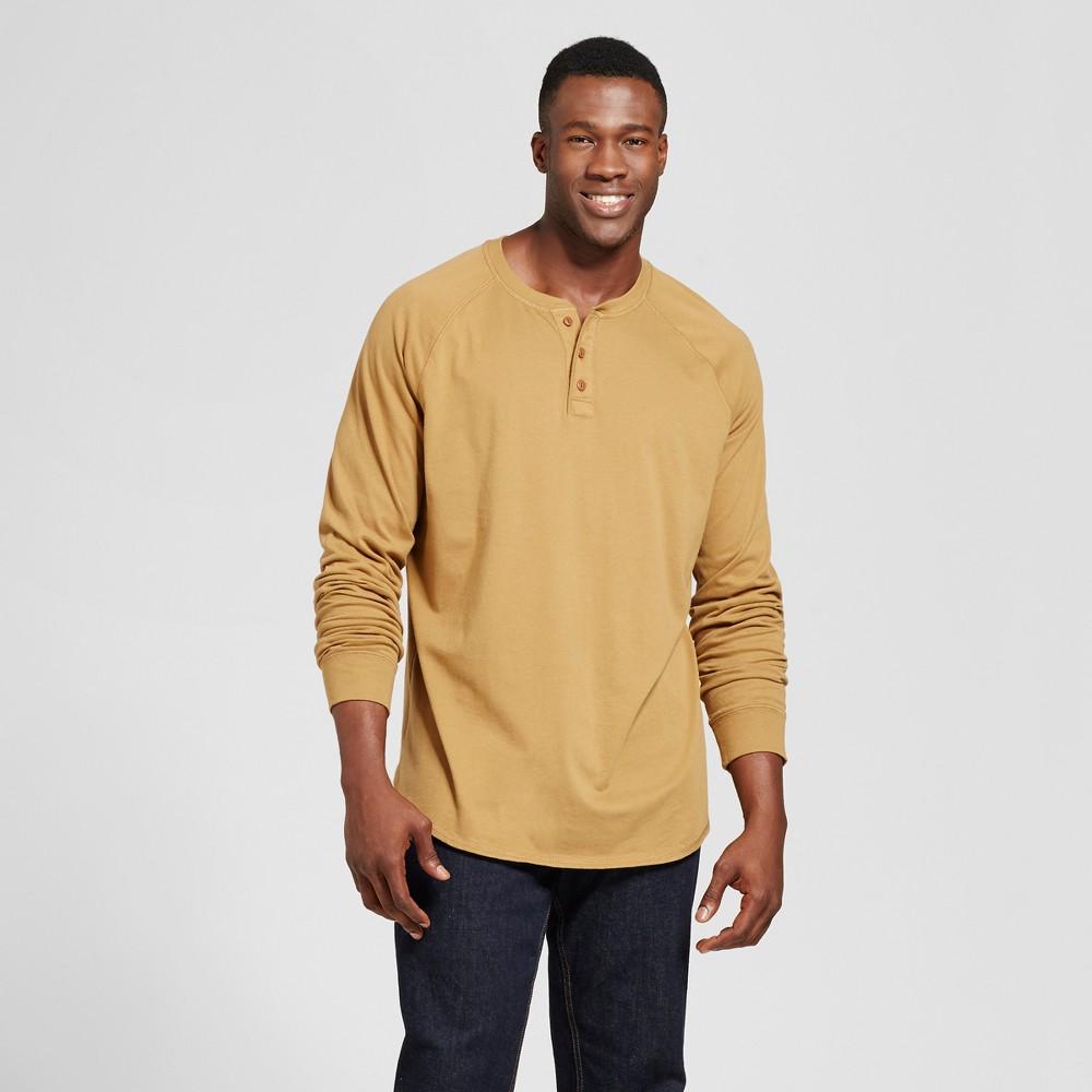 Mens Big & Tall Standard Fit Long Sleeve Henley T-Shirt - Goodfellow & Co Light Brown LT