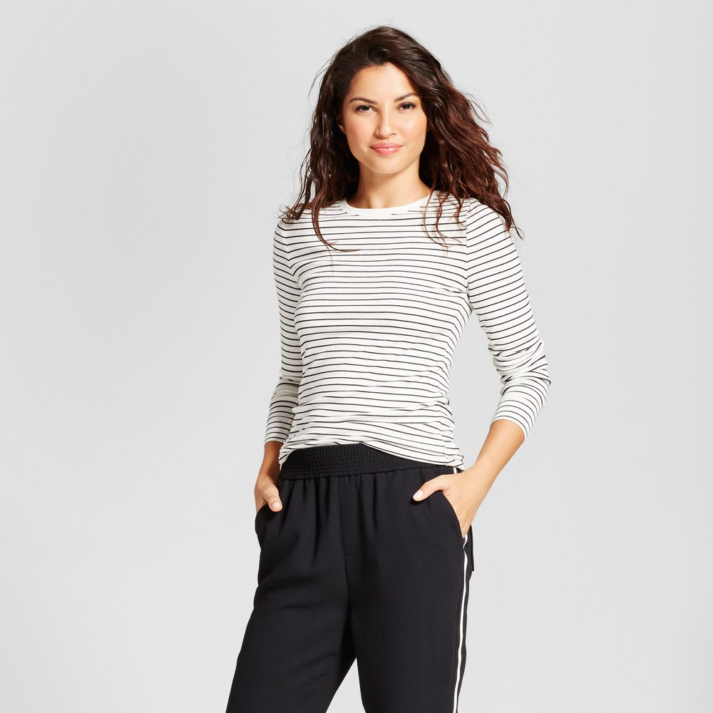 Womens Striped Fitted Long Sleeve Crew T-Shirt - A New Day White/Black Xxl