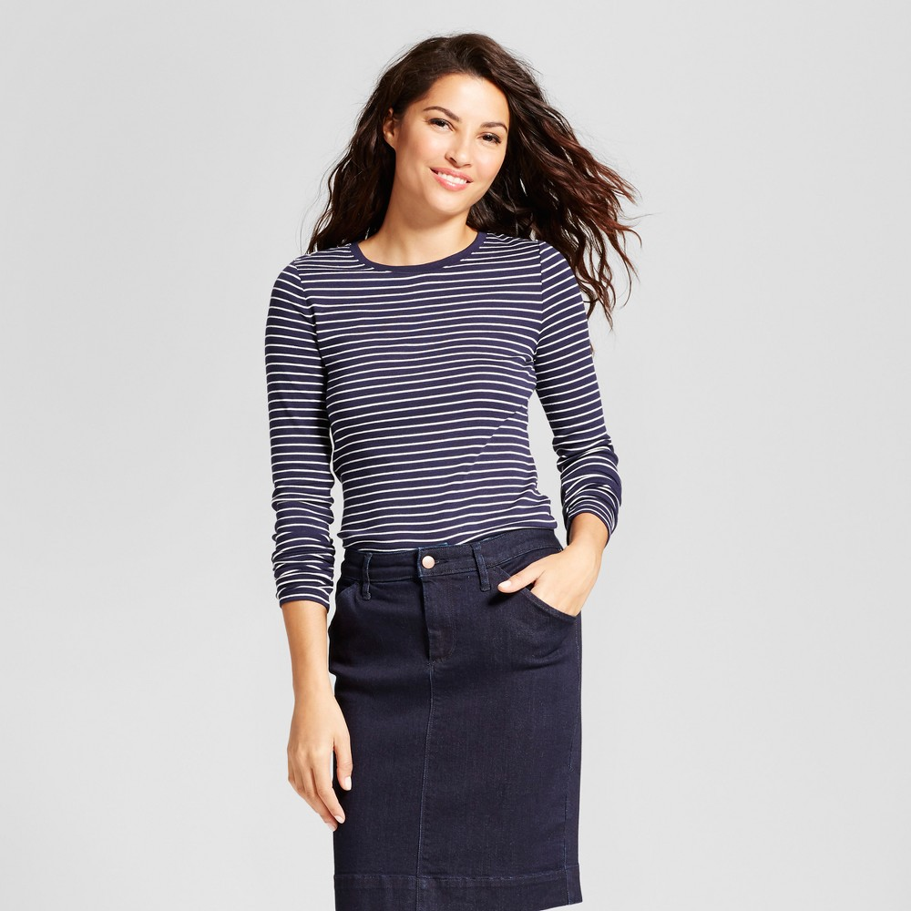 Womens Striped Fitted Long Sleeve Crew T-Shirt - A New Day Navy/White (Blue/White) XL