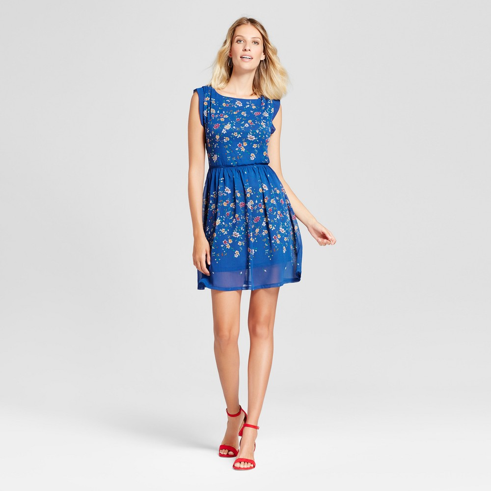 Womens Floral Printed Cinched Waist Flutter Sleeve Dress - Isani for Target Navy Combo L, Blue