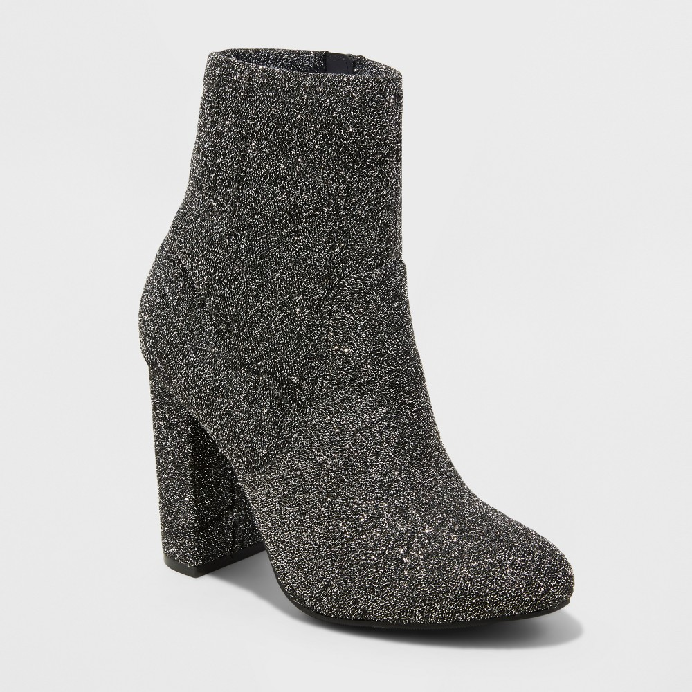 Womens Dania Glitter Sock Booties - Mossimo Supply Co. Pewter 7, Silver
