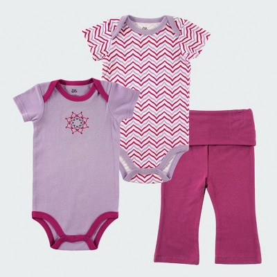 Yoga Sprout Baby Girls' 2pk Bodysuit and Pants Set - Purple 0-3M