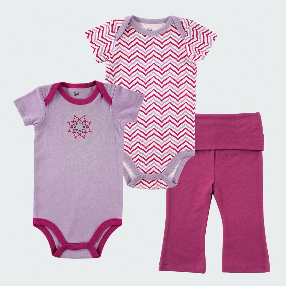Yoga Sprout Baby Girls 2pk Bodysuit and Pants Set - Purple 0-3M, Size: 0-3 M