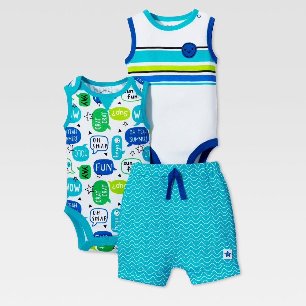 Lamaze Baby Boys Organic Geometric Phrases 3pc Set - Blue 12M