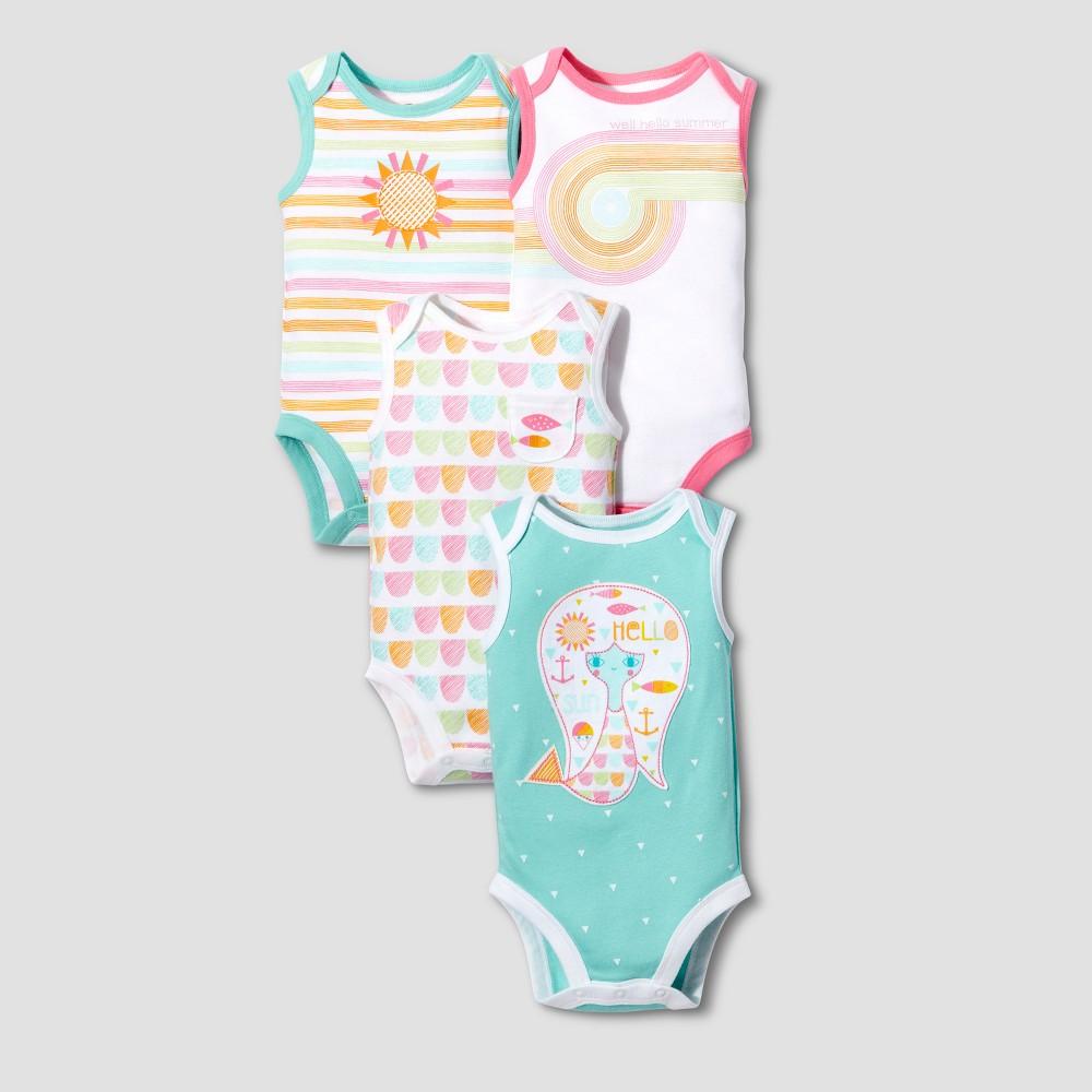 Lamaze Baby Girls Organic 4pk Geometric Print Bodysuit Set - Pink 12M