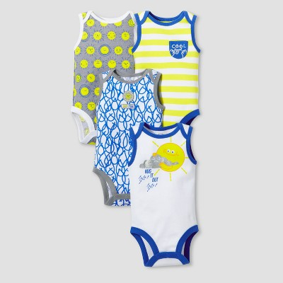 Lamaze Baby Boys' Organic 4pk Weather Patterns Bodysuit Set - Blue 3M