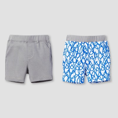 Lamaze Baby Boys' Organic 2pk Weather Patterns Shorts Set - Blue 6M