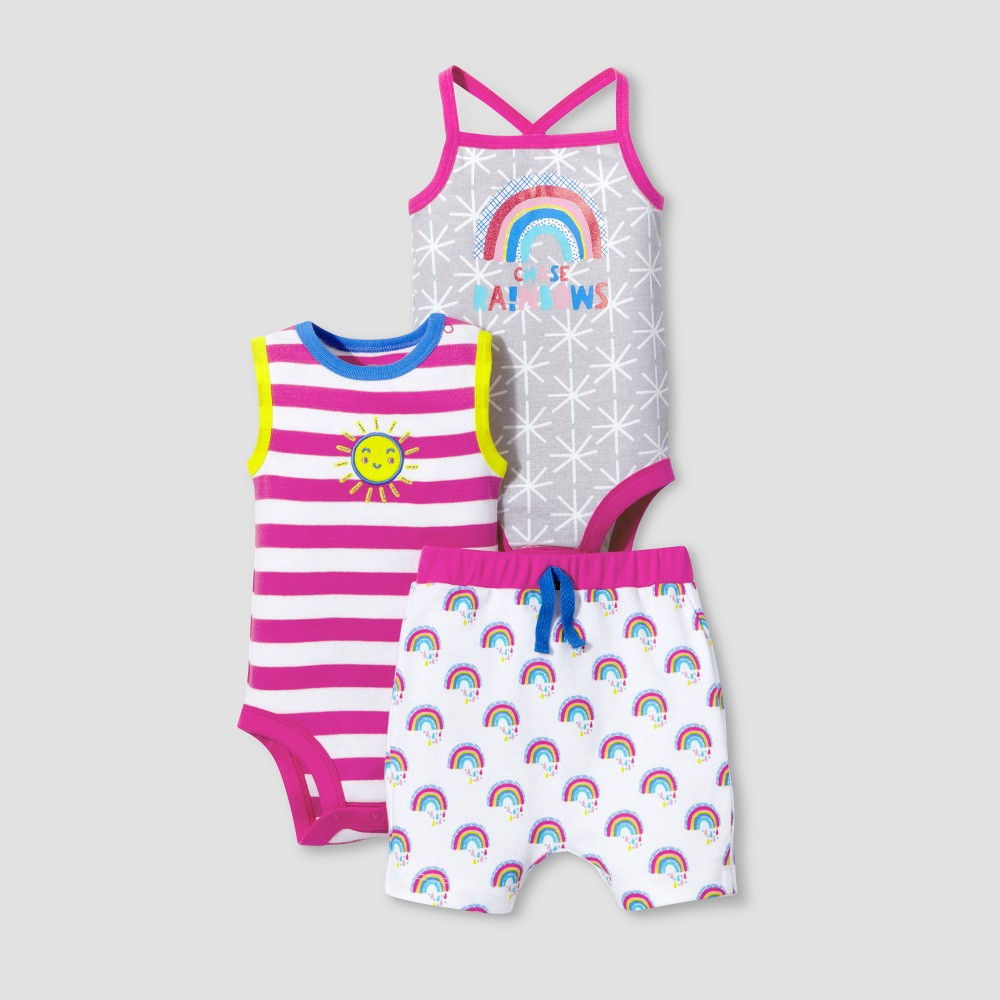 Lamaze Baby Girls Organic Rainbow and Sunshine 3pc Set - Pink 24M