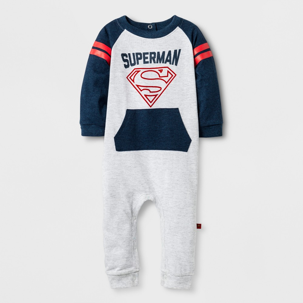 Baby Boys Long Sleeve Superman Coverall Gray/Navy - DC Comics 0-3 M