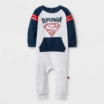 Baby Boys' Long Sleeve Superman Coverall Gray/Navy - DC Comics® 6-9 M