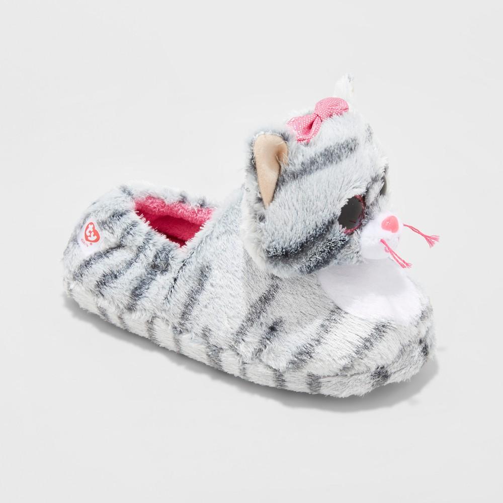 Girls TY Beanie Boos Kiki Kitty Slippers - Gray L(4-5), Size: L (4-5)