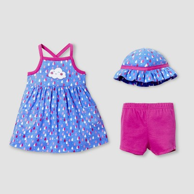 Lamaze Baby Girls' Organic 3pc Raindrops Dress Set - Blue 9M
