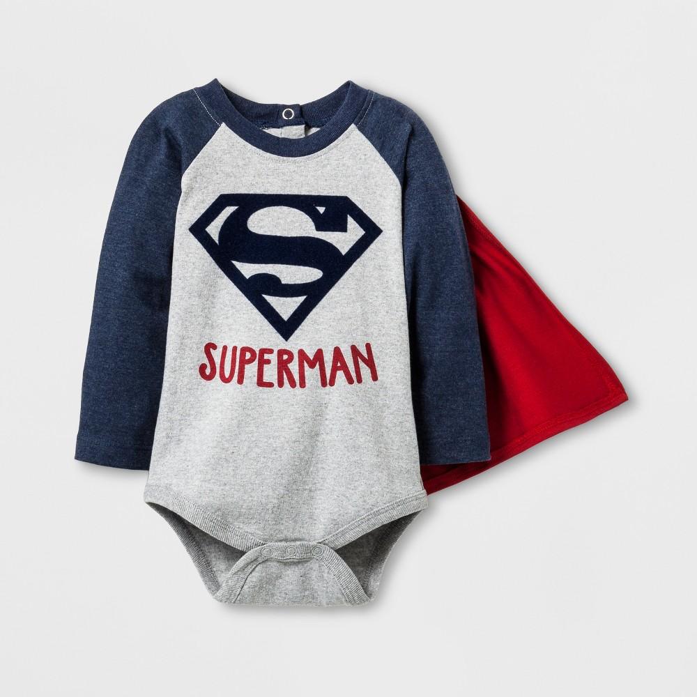 Baby Boys Long Sleeve Superman Bodysuit with Cape Gray - Superman 6-9 M