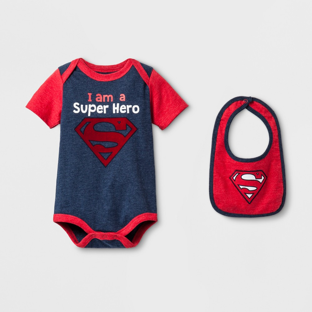 Baby Boys Superman Bodysuit with Bib Blue/Red - Superman 6-9 M
