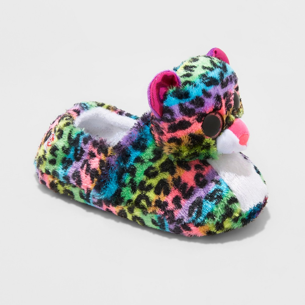 Girls TY Beanie Boos Dotty Rainbow Leopard Slippers - M(2-3), Size: M (2-3), Multicolored
