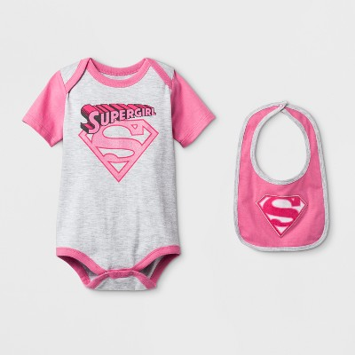 Baby Girls' Supergirl Bodysuit with Bib Gray/Pink - Supergirl® 12 M