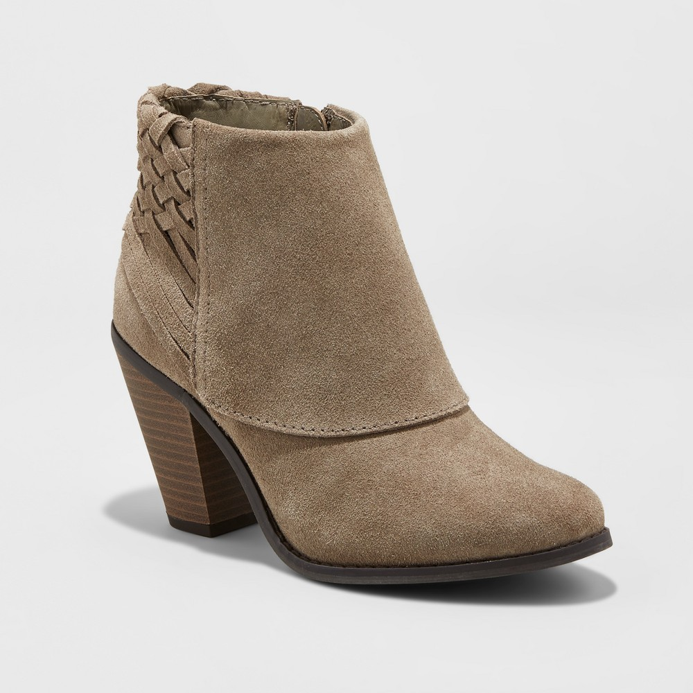 Womens Riley Suede Woven Booties - Mossimo Supply Co. Taupe 7, Gray