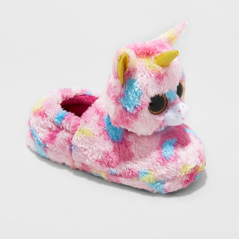 Girls TY Beanie Boos Fantasia Unicorn Slippers - Pink L(4-5), Size: L (4-5)