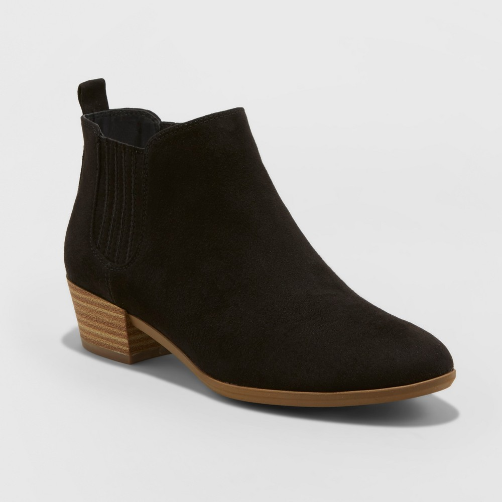 Womens Fawn Low Chelsea Booties - A New Day Black 6