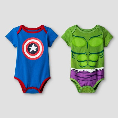 Disney Baby Boys' Hulk and Captain America 2pk Short Sleeve Bodysuit - Green/Blue 12M