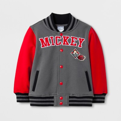Toddler Boys' Disney® Mickey Mouse Varsity Jacket - Charcoal/Red 3T