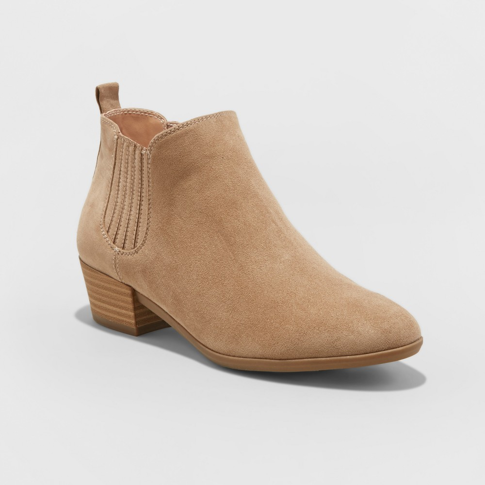 Womens Wide Width Fawn Low Chelsea Booties - A New Day Taupe (Brown) 8.5W, Size: 8.5 Wide