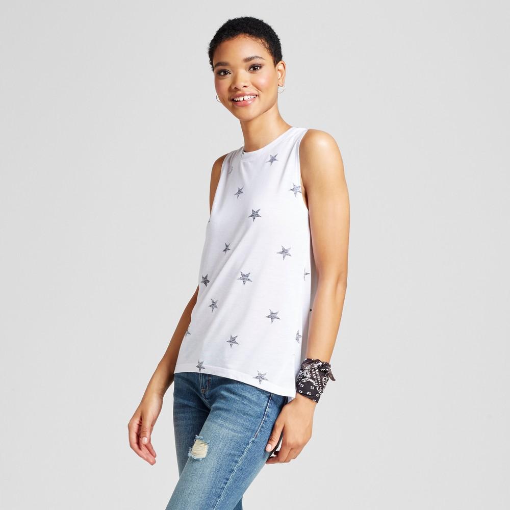 Womens Star Print Graphic Tank Top White XS - Modern Lux (Juniors)