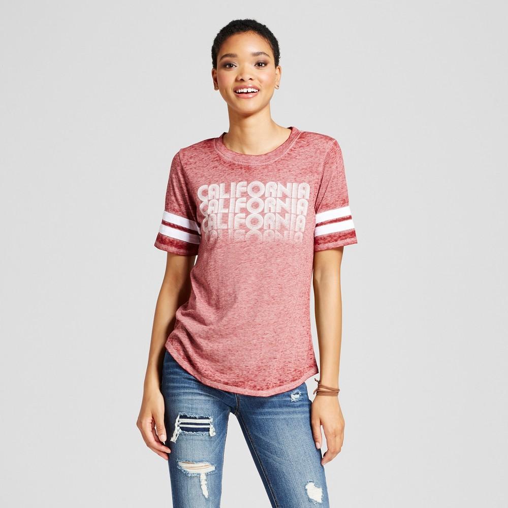 Womens California Varsity Graphic T-Shirt Burgundy S - Modern Lux (Juniors), Red