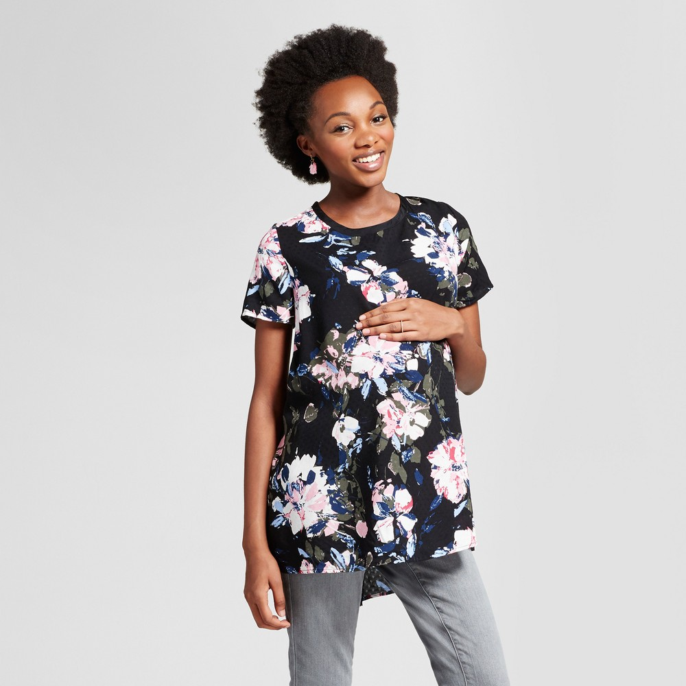 Maternity Floral Print Short Sleeve Top - Isabel Maternity by Ingrid & Isabel Black L, Womens