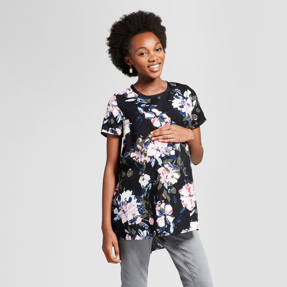 Maternity Floral Print Short Sleeve Top - Isabel Maternity by Ingrid & Isabel Black S, Womens