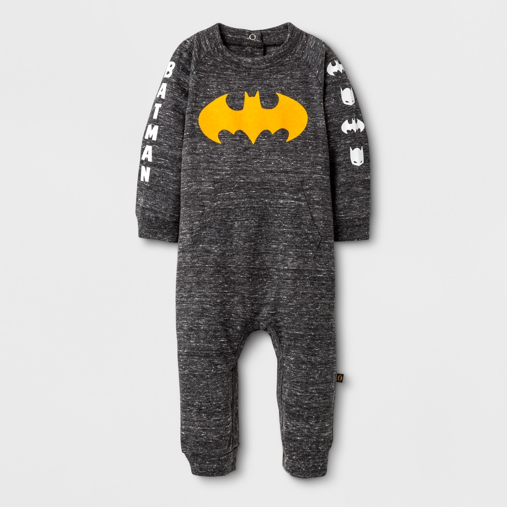 Baby Boys Long Sleeve Batman Coverall Back - Warner Bros. Charcoal 0-3 M, Gray