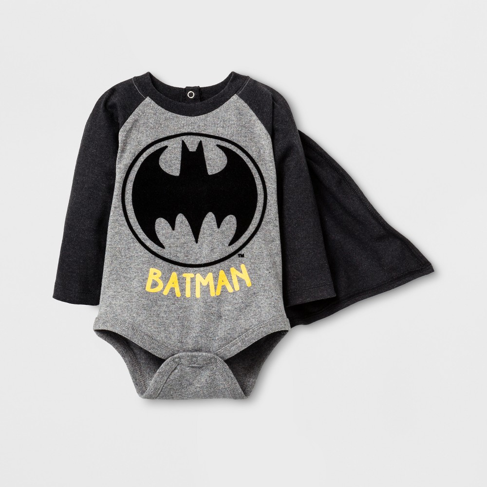 Baby Boys Long Sleeve Batman Bodysuit with Cape Black - Warner Bros. 12 M, Size: 12 Months, Gray