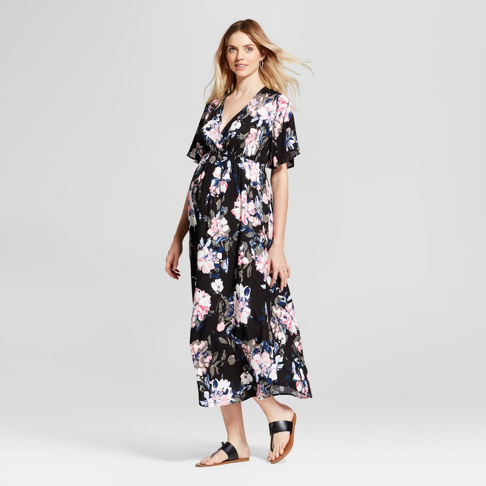 Maternity Floral Print Wrap Maxi Dress - Isabel Maternity by Ingrid & Isabel Black S, Infant Girls
